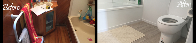 70's bathroom before and after